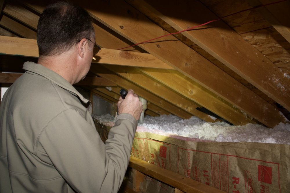 When it is safe to do so, I enter the attic space. I look for water leaks and possible mold presence. I also check for rodent intrusions and the quality and level of visible insulation.