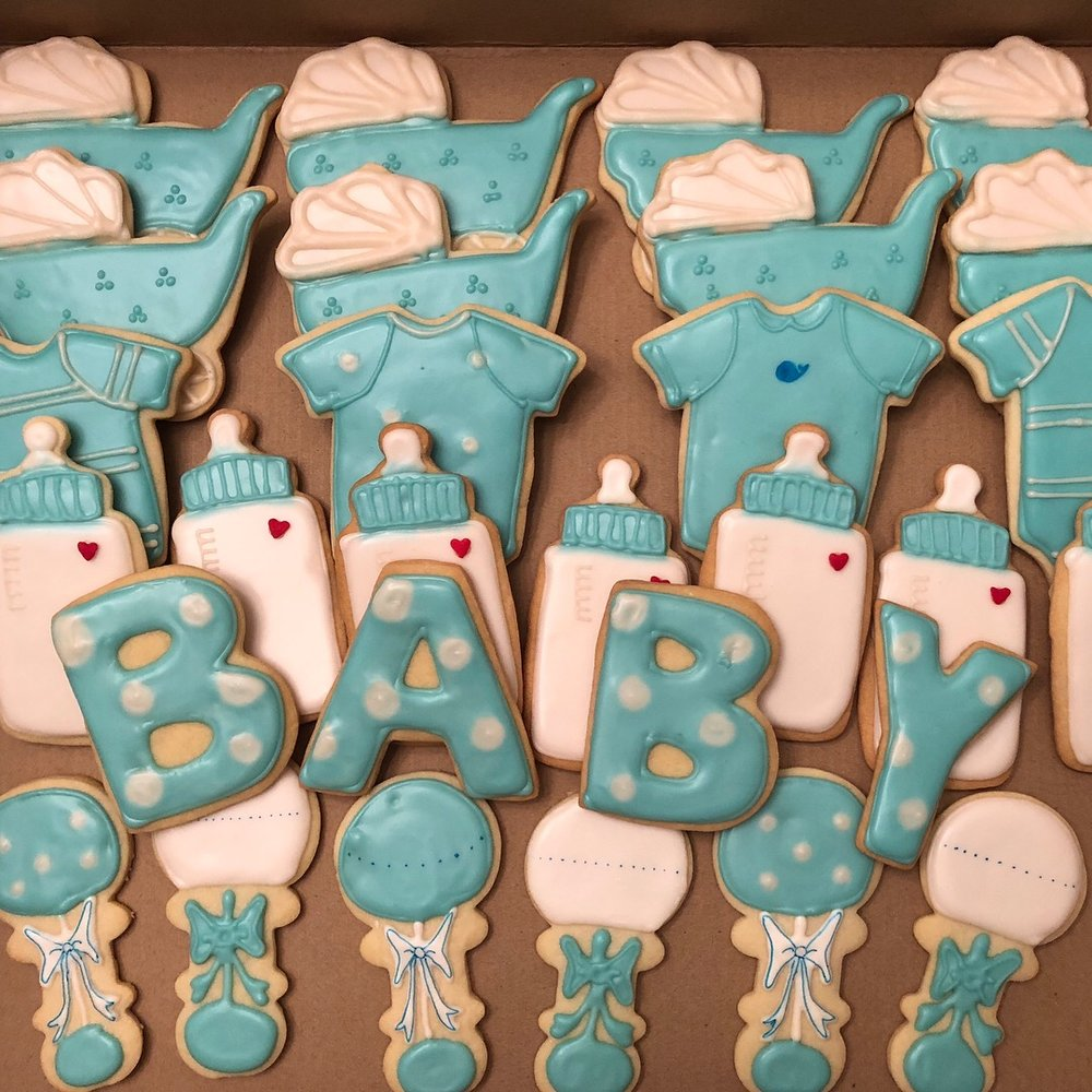Baby shower cookies   Classic baby shower cookies. Can me made in blue, pink, or any color!