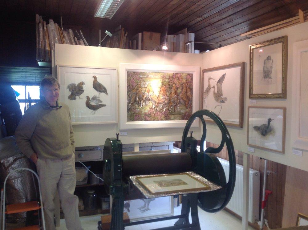 Jonathan Sainsbury in his studio during Perthshire Open Studios