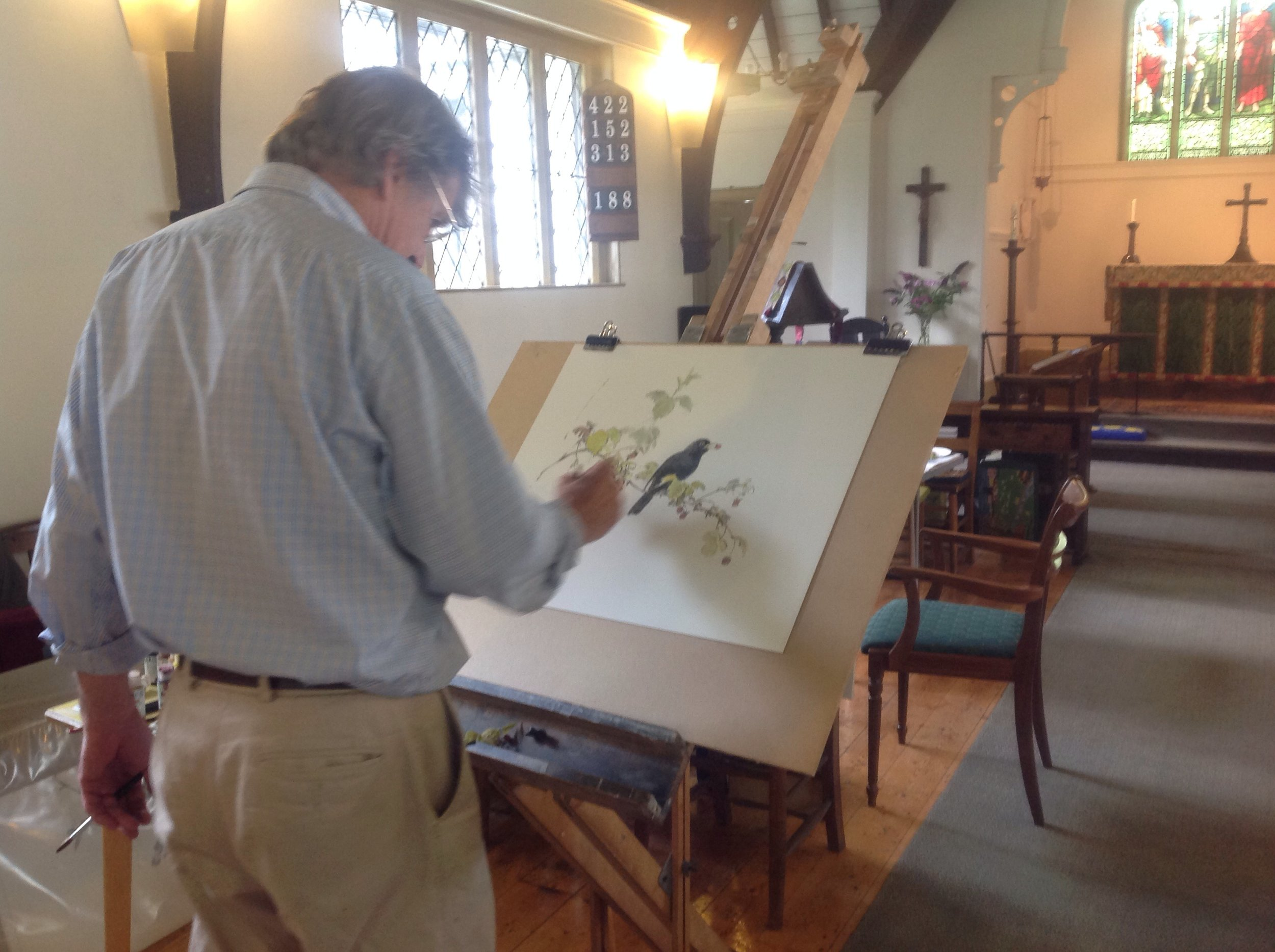 Jonathan Sainsbury painting in St Serf's Church, Comrie