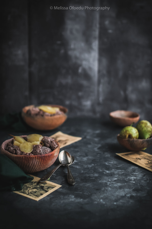 Chai Pears with Chocolate Ice Cream and warm chocolate souce (8 of 13).jpg