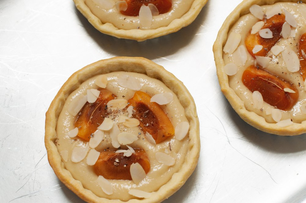 Vegan apricot frangipane tarts ready to be baked