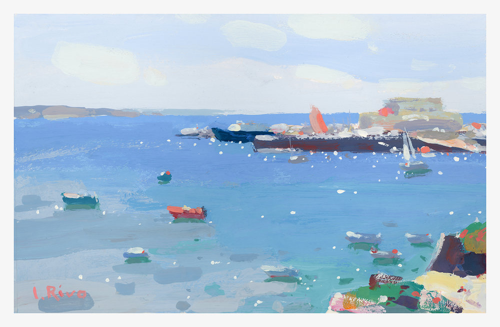 """Smooth Waters of Cascais Bay"" Gouache, 9 x 6.5 inches."