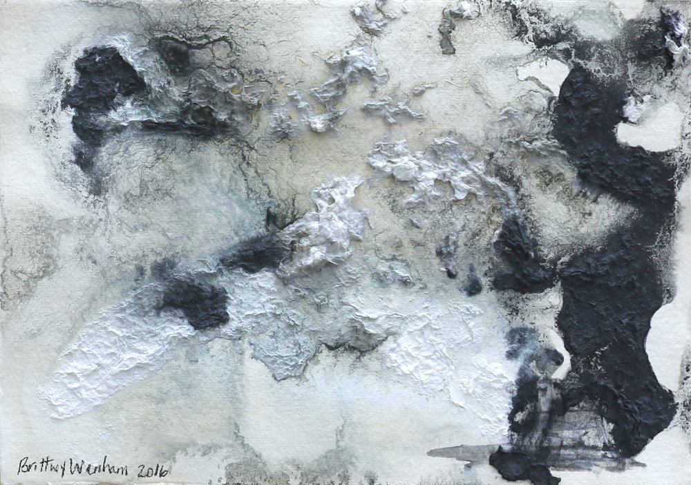"""TOPOGRAPHY #2    8.25"""" x 11.5"""", Paper pulp, acrylic and ink on paper, 2017"""