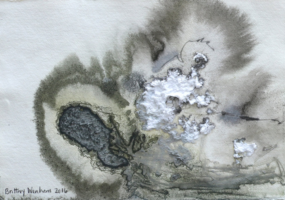 """TOPOGRAPHY #4    8.25"""" x 11.5"""", Paper pulp, acrylic, ink and bleach on paper, 2017"""