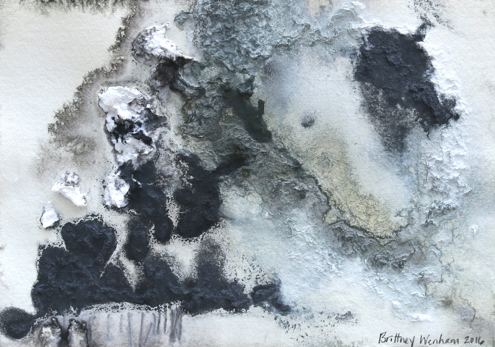 """TOPOGRAPHY #6    8.25"""" x 11.5"""", Paper pulp, acrylic and ink on paper, 2017"""