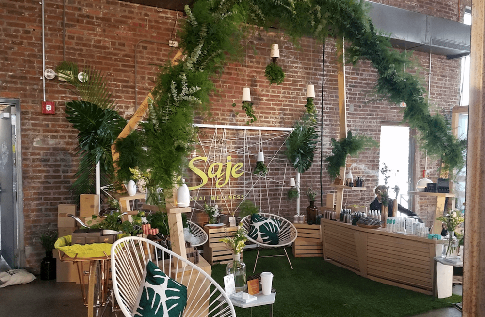 Saje Wellness Branded Booth- B Floral