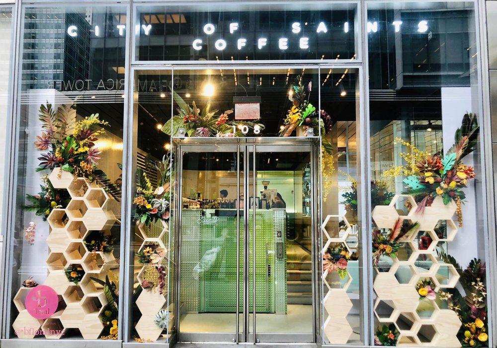 City of Saints Coffee Customized Window Display- B Floral
