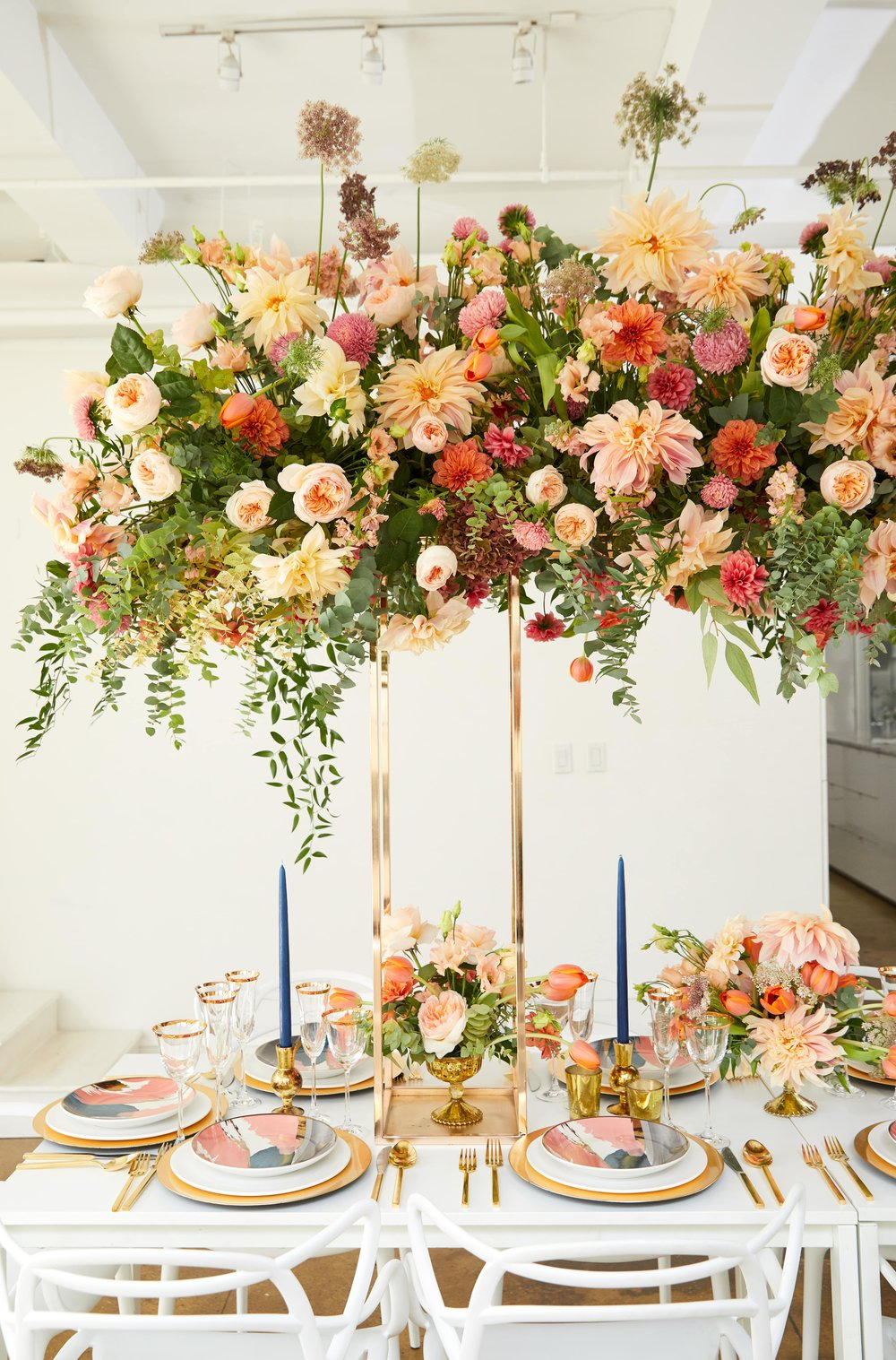 Pastel Tablescape with Floral Canopy- B Floral