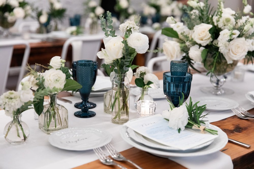 Blue Glasses as Accent Pieces- B Floral