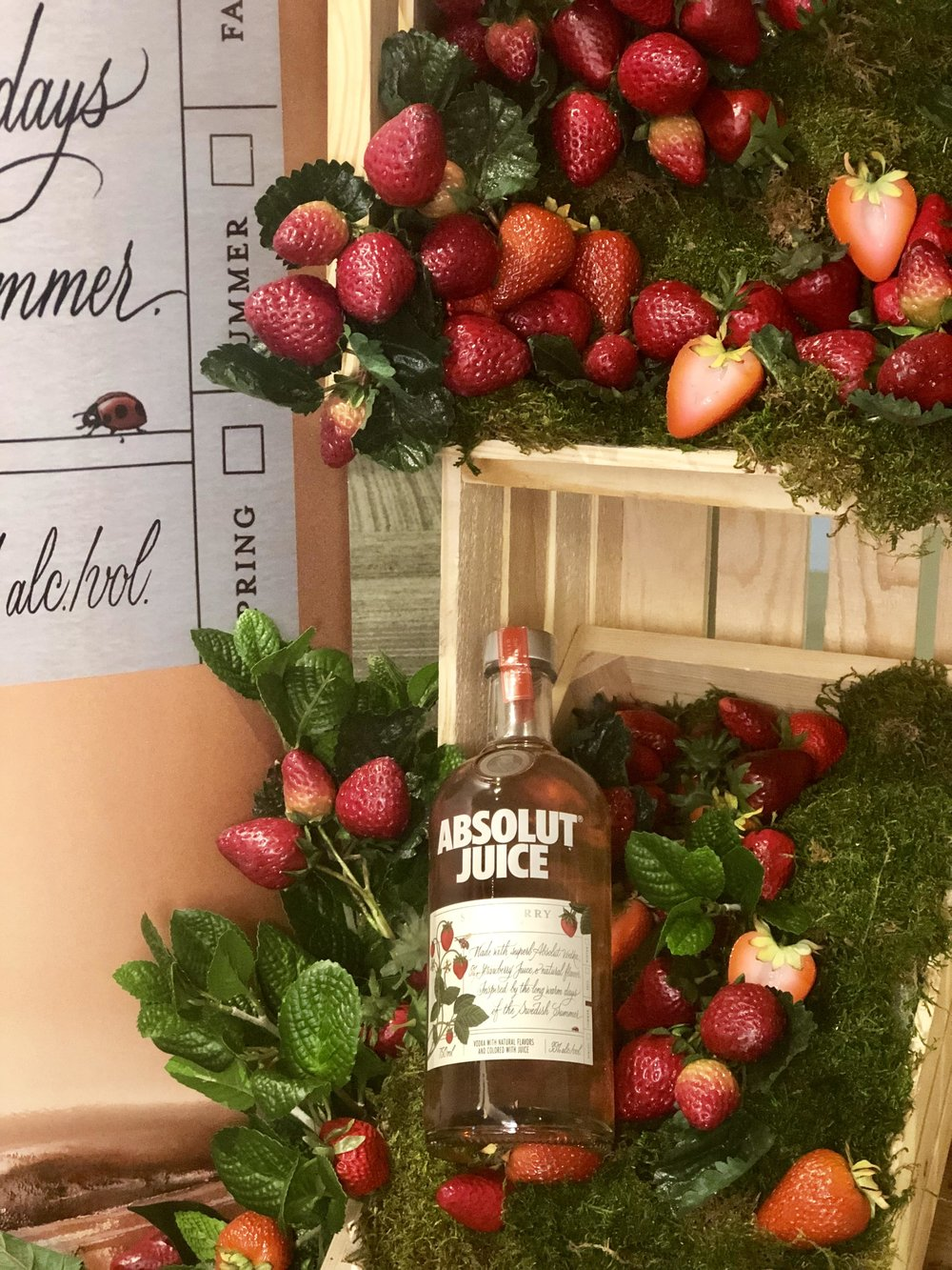 Absolut Juice Strawberry Product Display- B Floral