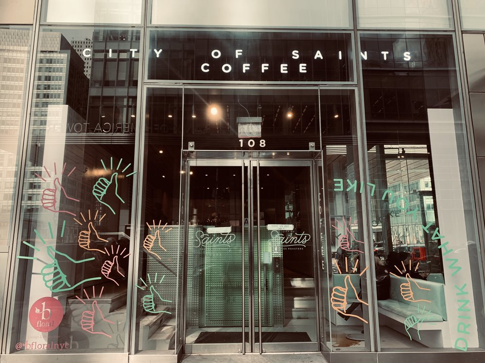 City of Saints Roaster - Bryant Park Cafe - B Floral Window Instalation