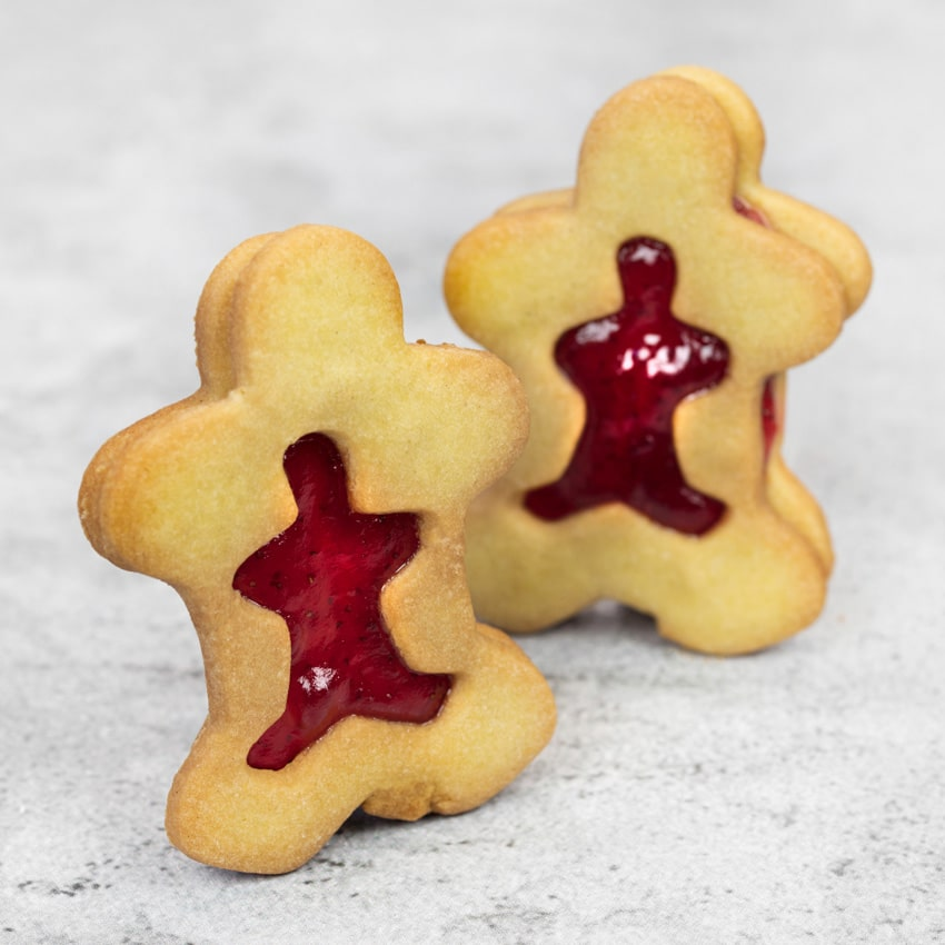 STRAWBERRY SHORTBREAD  Our ever changing shape of these shortbread biscuits keeps our big and small customers amused; filled with a Hambleton Bakery Strawberry jam, makes for a fun treat.