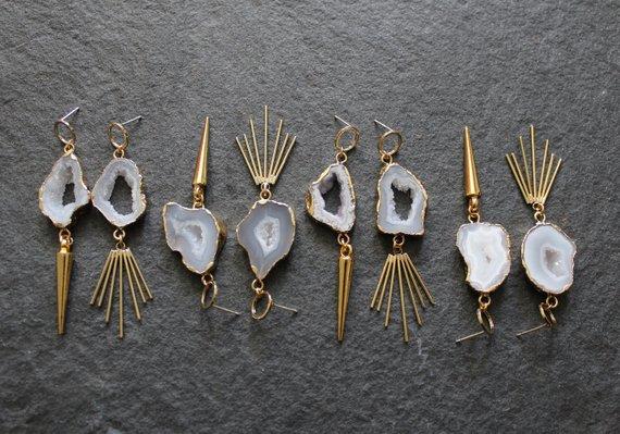 The Shapeshifter Asymmetrical Agate Earrings by Velvet & Slate