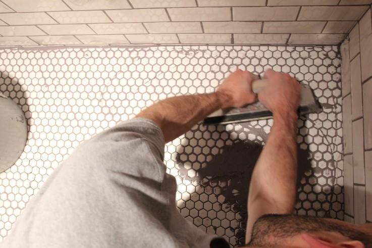Husband Grouting Tile Floor