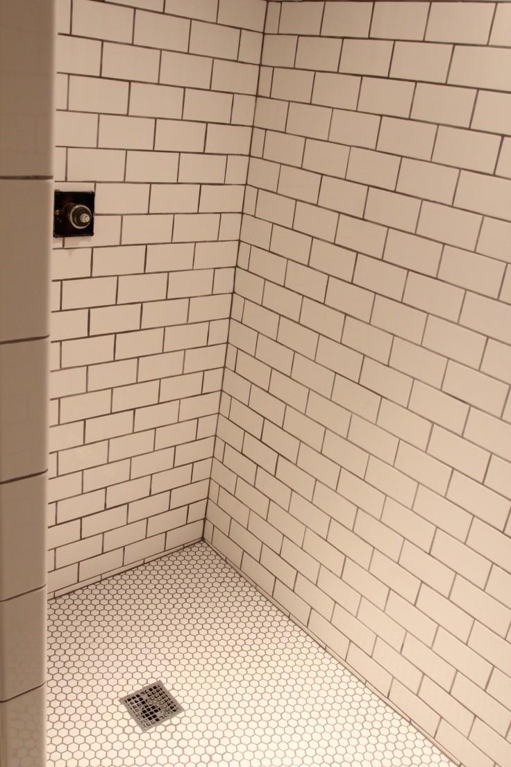 Basement Shower Hexagon Tile and Subway Tile