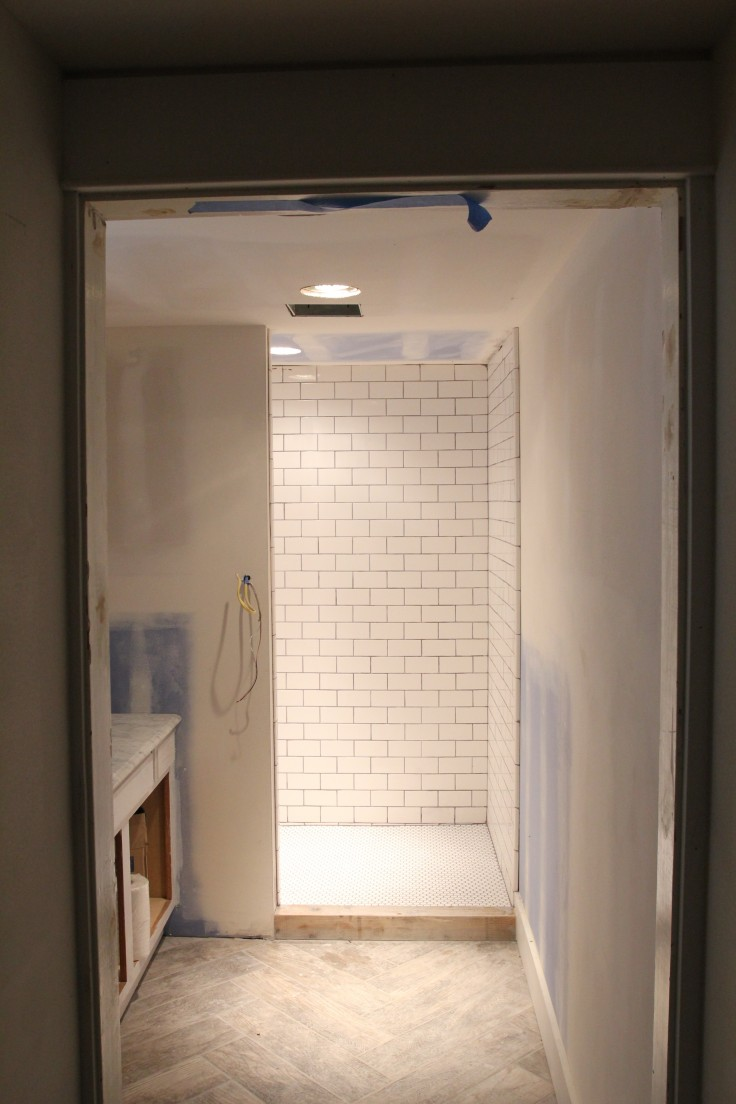 Basement Shower Tiled and Grouted