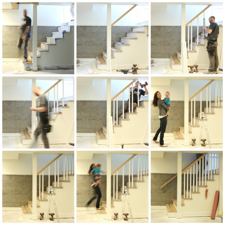 Building a Handrail on the New Staircase Collage 06-14