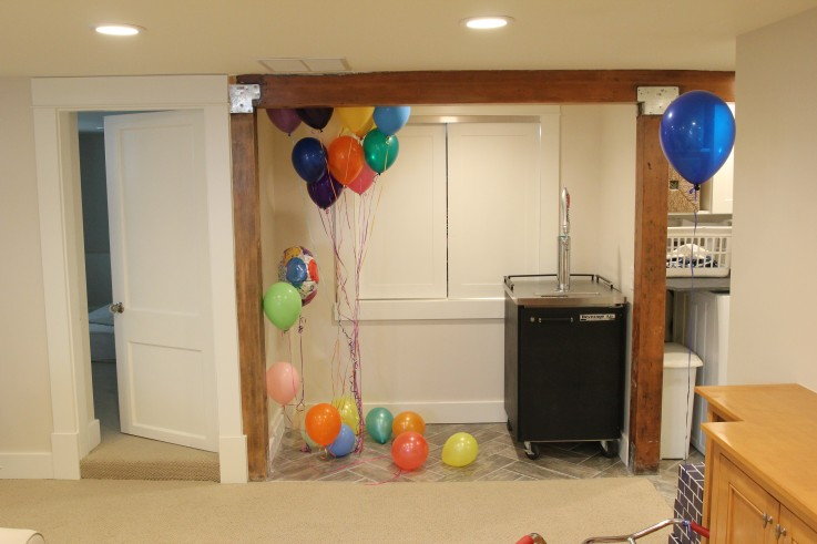 Basement Carpet and Paint - Balloons and Exposed Beam