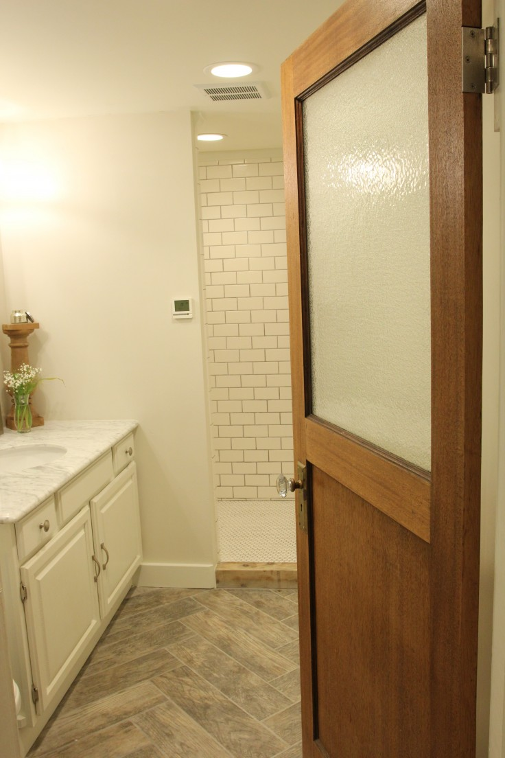 Bathroom Door - Salvaged Wood with Glass