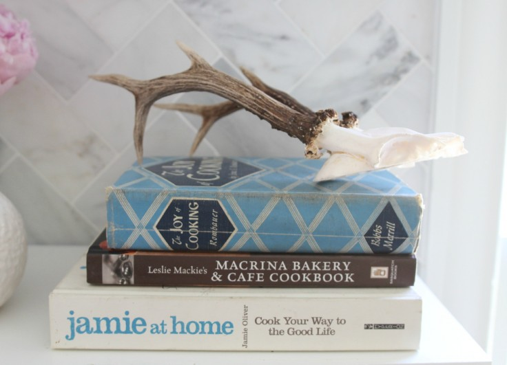 Kitchen Open Shelves Cook Books and Antlers