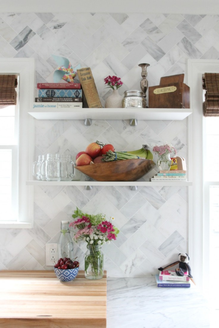 Kitchen Open Shelves on Marble Backsplash