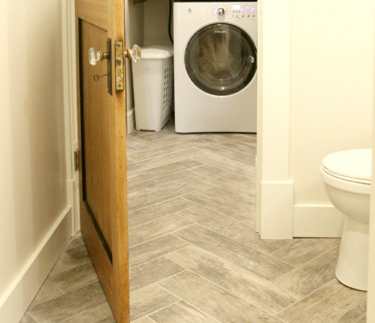 The Grit and Polish - Bathroom and Mudroom Herringbone Floors