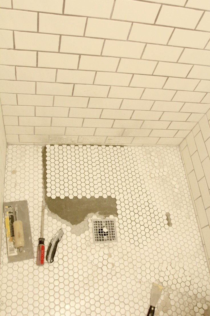 The Grit and Polish - bathroom shower floor re-tile