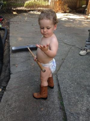 Wilder in cowboy boots 8-27-14