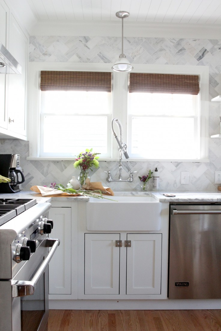 The Grit and Polish - White and Marble Kitchen and Flowers