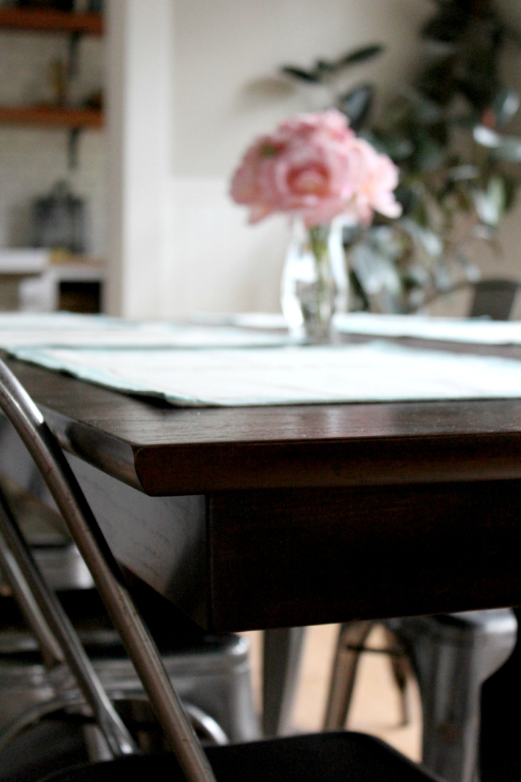 The Grit and Polish - Wallinford Dining Table with flowers