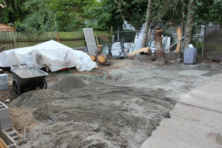 The Grit and Polish - backyard patio prep
