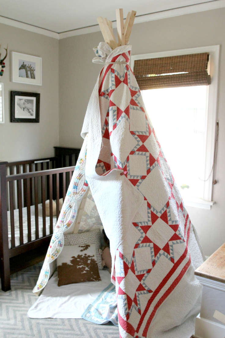 The Grit and Polish - DIY Teepee with Antique Quilts