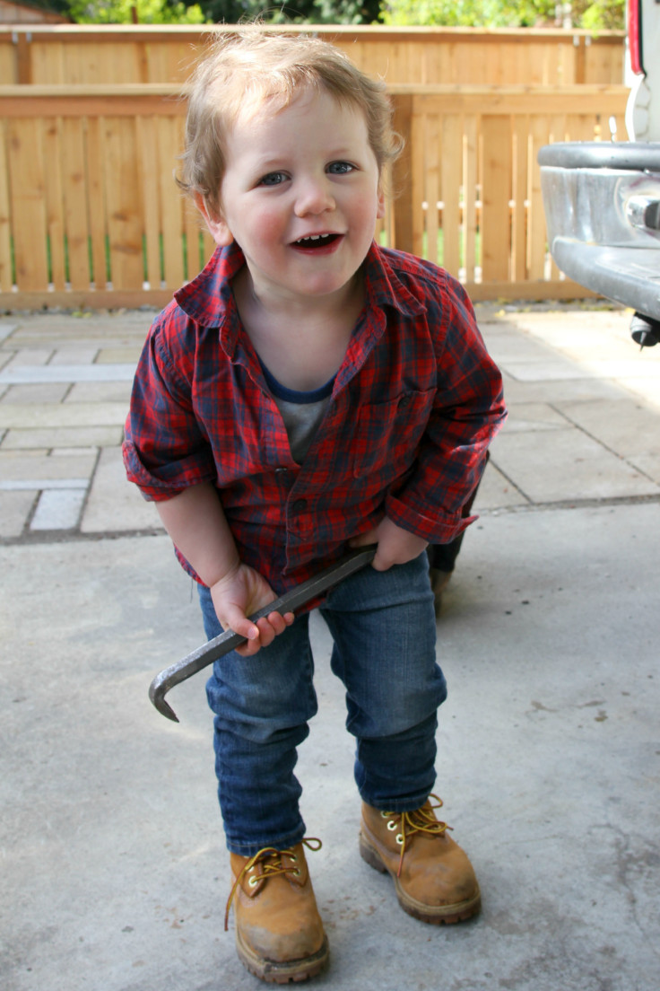 The Grit and Polish - Wilder in his work boots 22 months 7