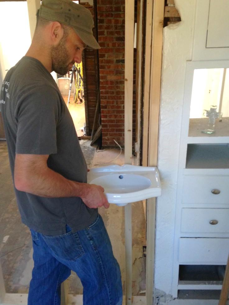 The Grit and Polish - Master bathroom dollhouse sink