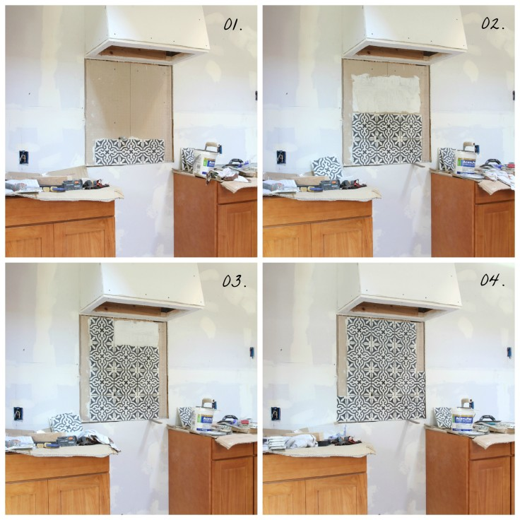 The Grit and Polish - Kitchen Tile Backsplash Progress Collage with numbers