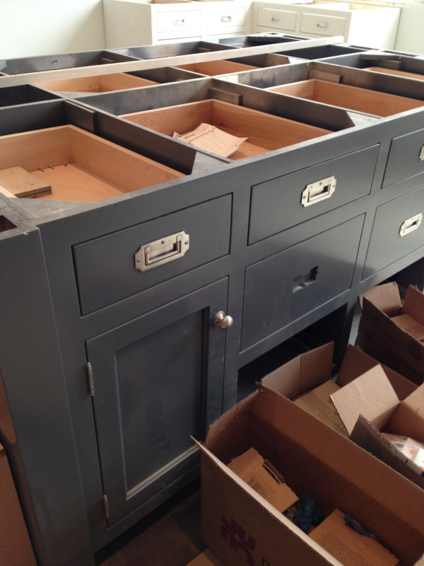 Tracery Interiors Dark Cabinets Recessed Drawer Pulls under construction