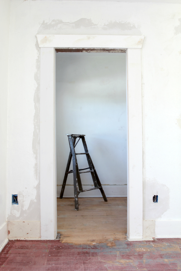 The Grit and Polish - Master Bath Wall Trim and Floor Sanding