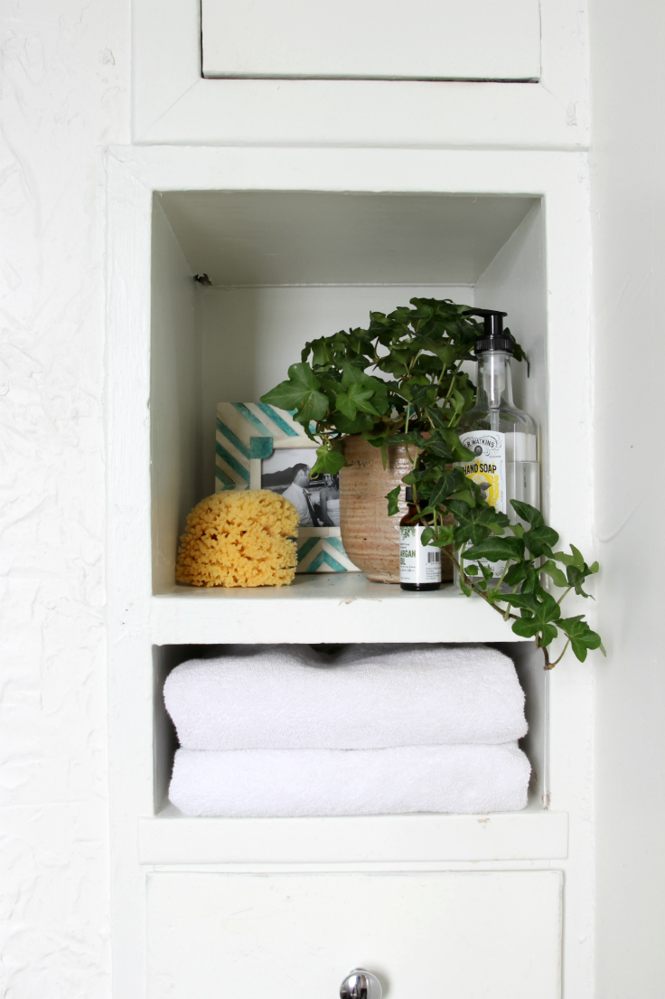 The Grit and Polish - Master Bathroom Renovation Storage Close