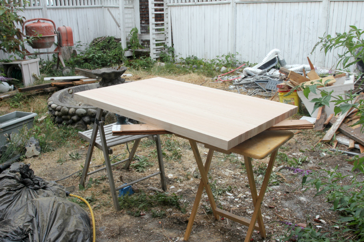 The Grit and Polish - Butcher Block Countertop cutting