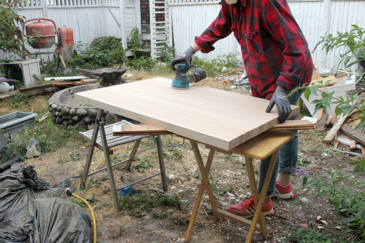 The Grit and Polish - Butcher Block Countertop sanding