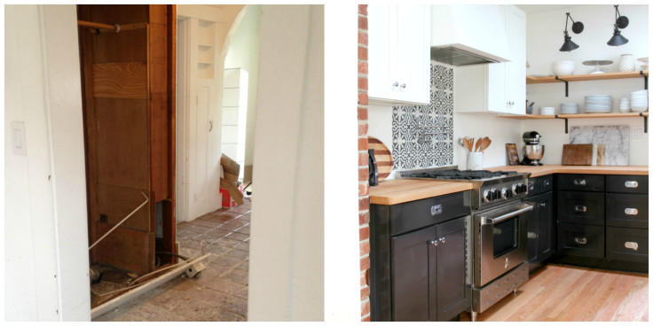 The Grit and Polish - Dexter Kitchen Before and After North Wall