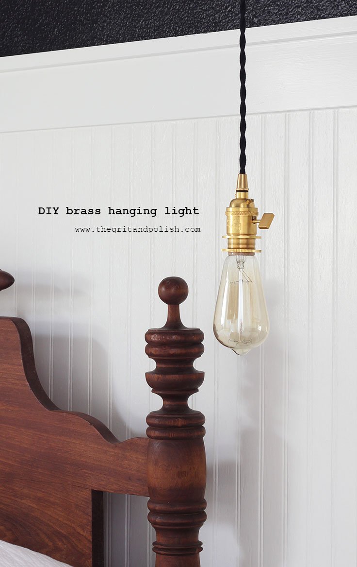 The Grit and Polish - DIY Brass Hanging Light labeled
