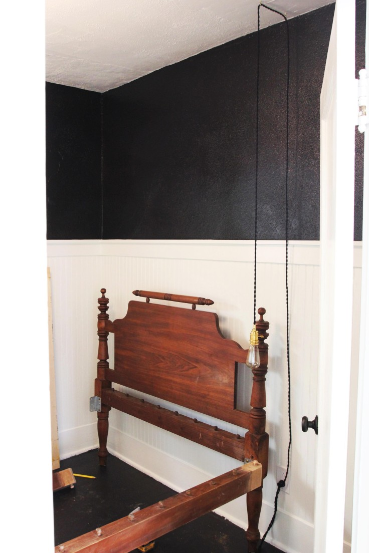 The Grit and Polish - Guest Room Black Walls with bed frame 2