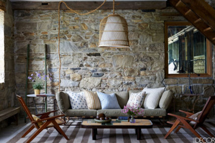 Elle Decor Rustic Farmhouse Renovation Living Room 6-6-16