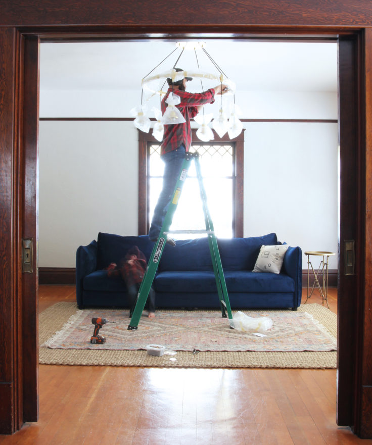 The Grit and Polish - Chandelier Install FInal