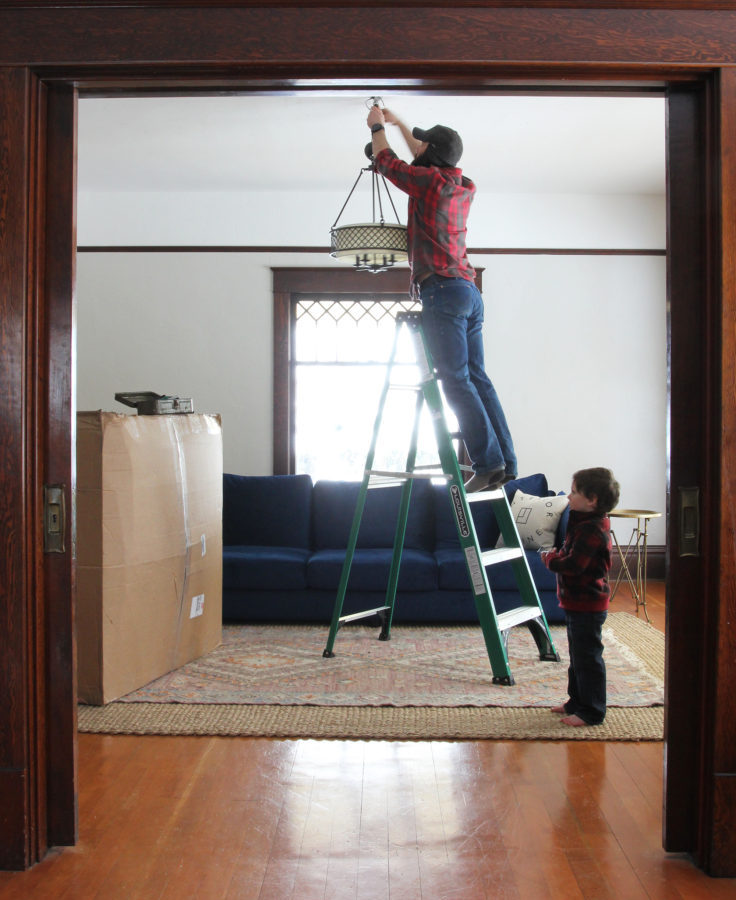 The Grit and Polish - Chandelier Install