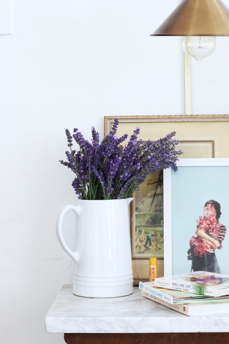 The Grit and Polish - Master Bedroom Lavendar on Nightstand