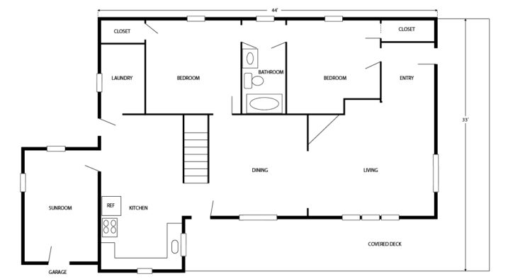The Grit and Polish - Porch House Floor Plan BEFORE