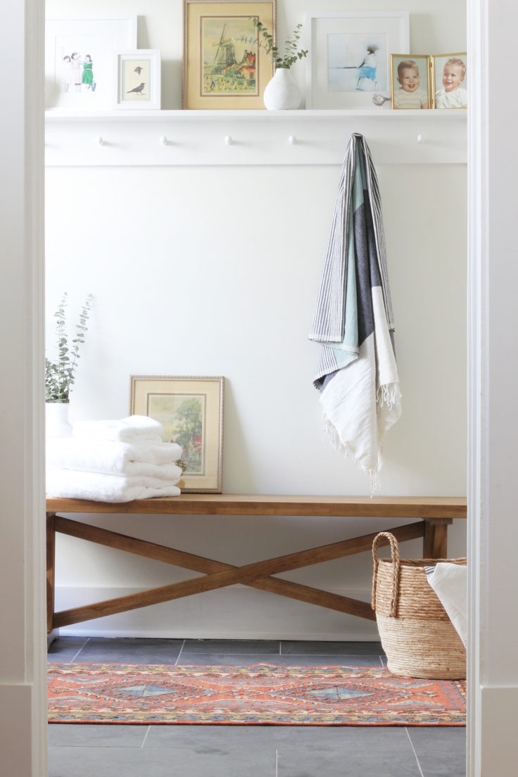 The Grit and Polish - Porch Master Bathroom Bench in Doorway